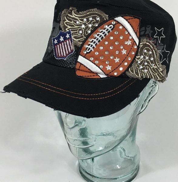 Women's Bling Football Wings Cadet Hat With Rhinestones