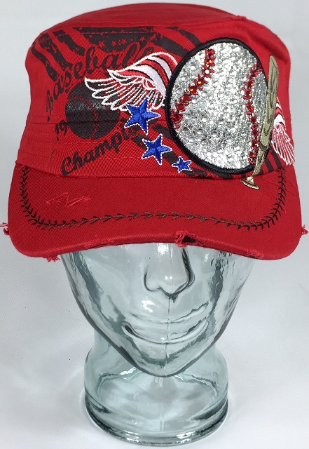 Women S Bling Baseball And Wings Cadet Style Hat With