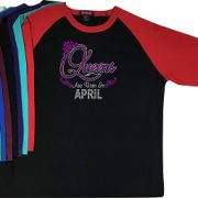 327a378a2 Queens Are Born In April-Rhinestone-Wedding-Bling T-shirtBling My Shirt